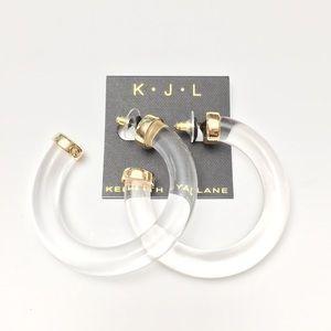 Kenneth Jay Lane Clear Acrylic Large Hoop Earrings